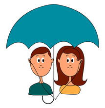 Love Under Umbrella, Illustration, Vector On White Background.