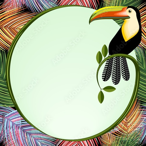 Foto auf AluDibond Ziehen Palm Leaves Frame With Toucan Bird Vector Background illustration