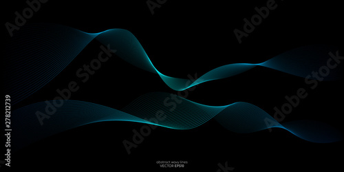 Foto auf AluDibond Abstrakte Welle Abstract vector wave line flowing green and blue color isolated on black background for design elements in concept technology, music, science, A.I.