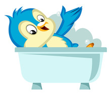 Blue Bird In The Bathtub, Illu...