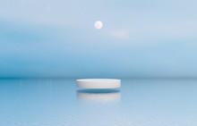 Natural Beauty Podium Backdrop With White Cylinder Box For Cosmetic Product Display. Abstract 3d Scene Composition Background. Seascape Background.
