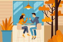 Vector Illustration In Flat Simple Style -  Autumn Illustration Se