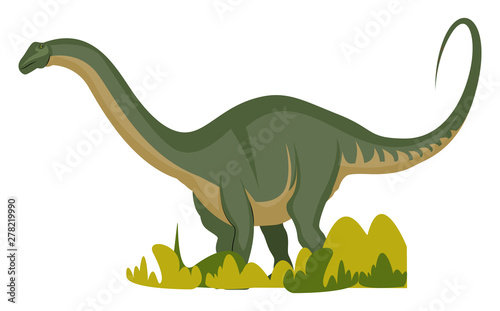 Apatosaurus, illustration, vector on white background. Canvas Print
