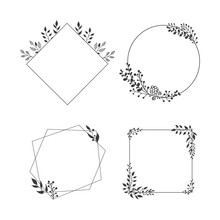 Hand Drawn Collection Of Floral Frames With Leaves And Herbs And Place For Text.