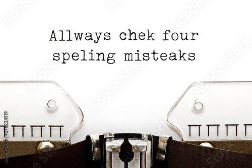 Always Check For Spelling Mistakes Typewriter Concept Wallpaper Mural