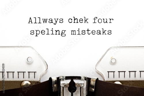 Obraz na plátně Always Check For Spelling Mistakes Typewriter Concept