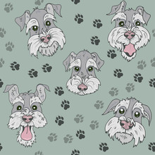 Pattern With Scottish Terrier  Dogs, Funny, Sad, Curious And Offended Faces Of Terriers On A Green Background With Traces Of Dog Paws, Seamless Vector Illustration