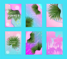 Summer Vertical Set Of Backgrounds In Geometrical Futuristic Bright Style. Colorful Banner Template With Realistic Green Tropical Palm Leaves Illustration. Vector, Eps 10