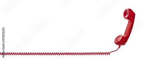 Fotografie, Obraz Red retro telephone handset isolated on white background