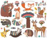 Fototapeta Fototapety na ścianę do pokoju dziecięcego - Woodland Tribal Animal Collections Set