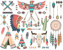 Tribal Indian Native Elements Set