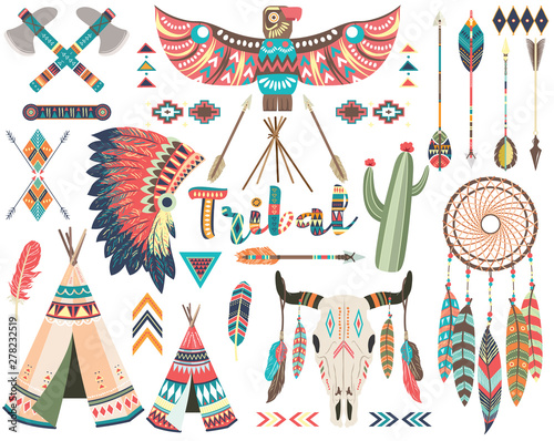 Tribal Indian Native Elements Set Wallpaper Mural