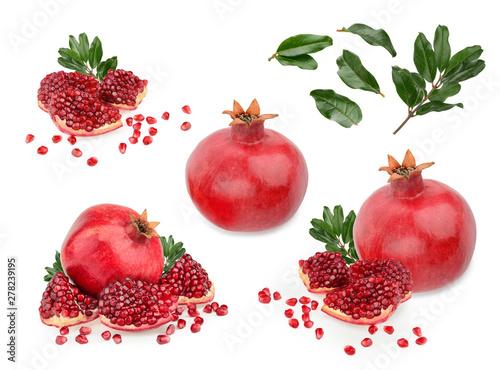 Obraz na plátně Pomegranate fruit isolated white background