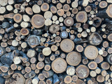 Firewood For Heating, Fires, Fireplaces. Background From Sawed Tree Trunks.