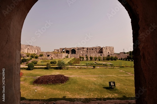 The Golconda Fort in Hyderabad is an ancient seat of the royal rulers of Hyderab Canvas Print