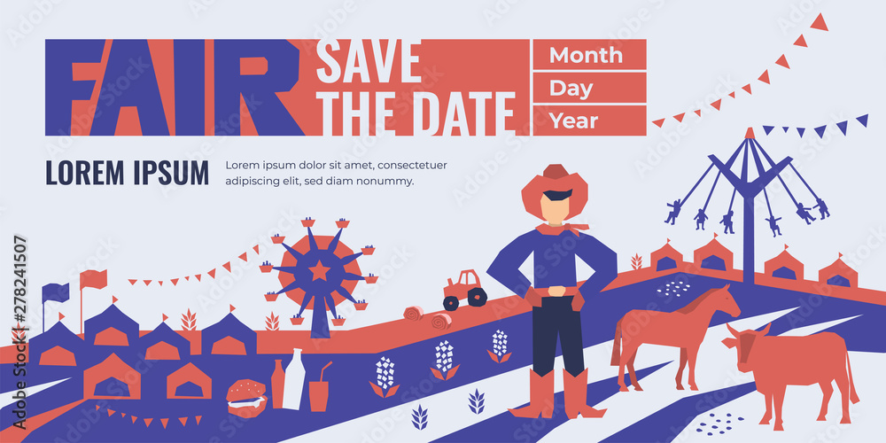 Fototapety, obrazy: Vector detail illustration of State Fair. Event poster with food market, ferris wheel, farm animals, country fair. Design template for invitation, landing page, banner, print, flyer. Save the date.
