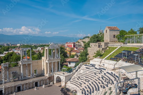 Photo sur Toile Europe de l Est The ruins of the Roman theatre of Plovdiv, Bulgaria. One of the world's best-preserved ancient theatres, constructed in the 1st century under Emperor Domitian