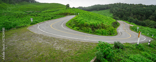 Foto auf AluDibond Grun Curve Street With Mountain Scenery