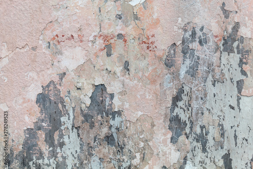 Poster Vieux mur texturé sale Old Weathered Peeling Pink Concrete Wall Texture