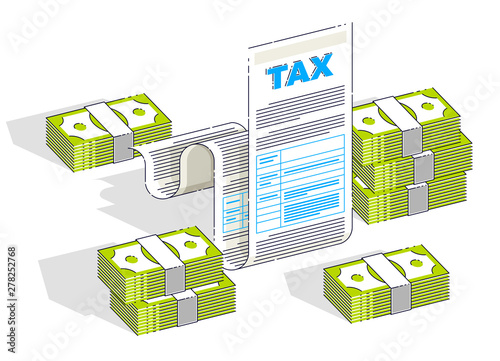 Taxation concept, tax form or paper legal document with cash money