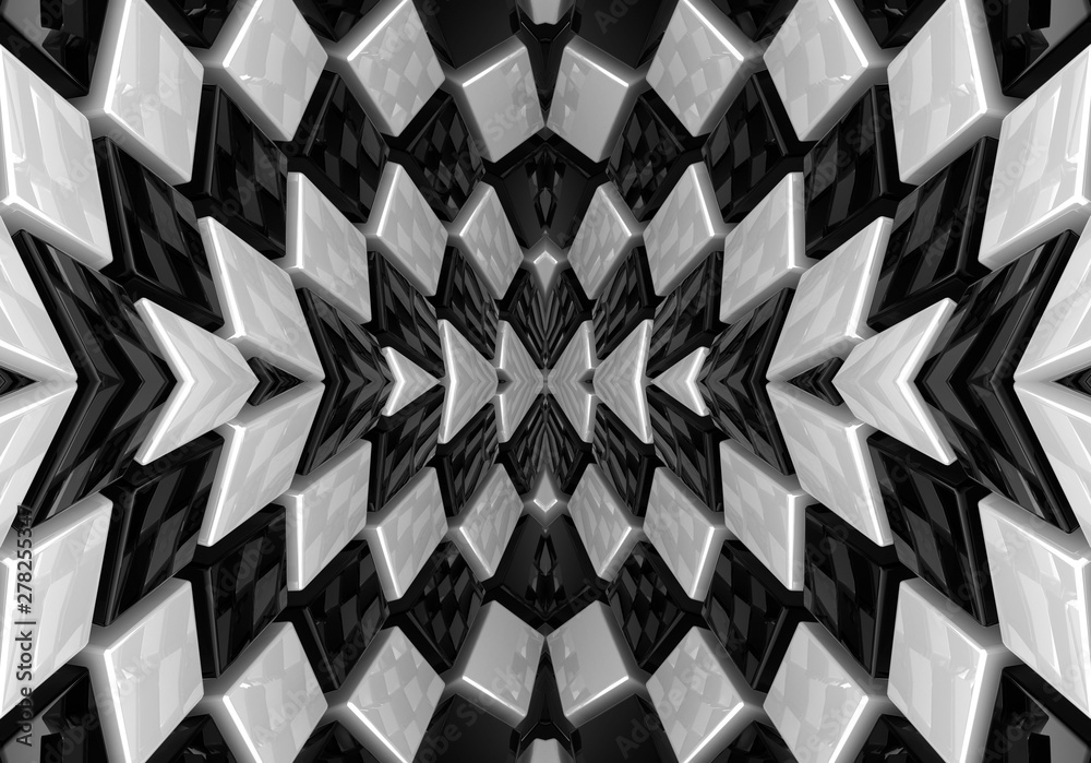 Fototapeta 3d mural Black and white square optical illusion. Abstract chess illusion background