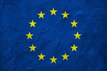 European Union Flag On Wall Gr...