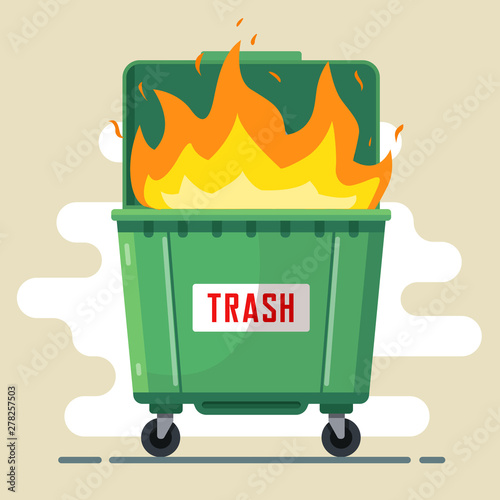 the trash can is burning. violation of the rules Fototapet