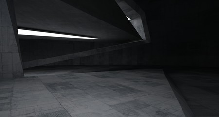 Abstract architectural concrete interior of a minimalist house with neon lighting. 3D illustration and rendering.