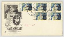 Briefmarken Stamps Briefumschlag Envelope Vintage Retro Amerika US Air Mail Luftpost Mary Cassatt First Day Issue Ersttagsbrief 1963 Boot Rudern Boat Mann Frau Kind