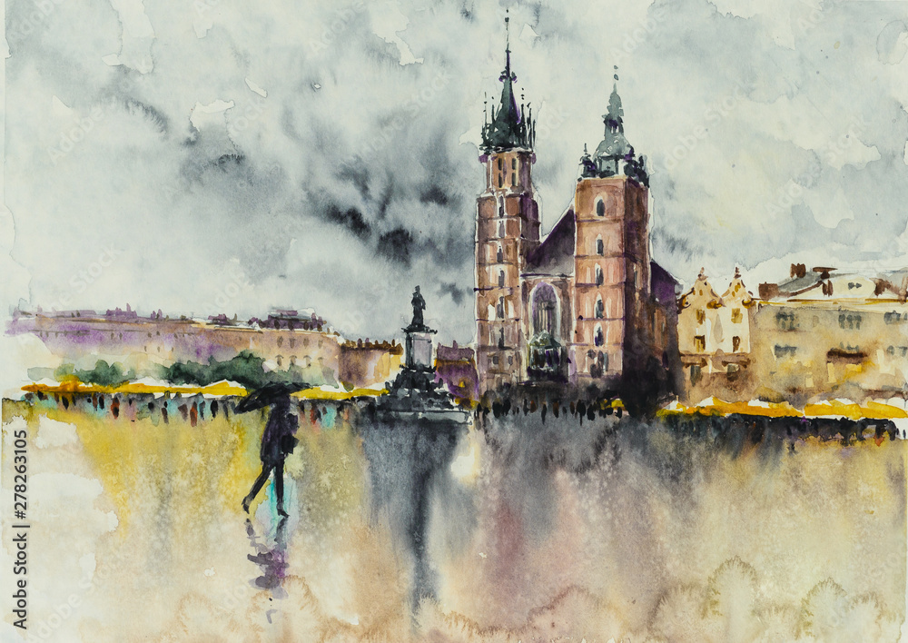 Old town, Kracow, Poland with Miariacki Church in background.Picture created with watercolors.