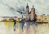 Old town, Kracow, Poland with Miariacki Church in background.Picture created with watercolors. - 278263105
