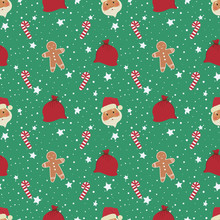 Christmas Background. Seamless Pattern With Santa Claus Heads, Gingerbread Man, Bags With Gifts And Sweets. Vector Illustration On A Green Background