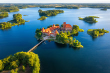 Trakai Castle In Lithuania Aerial View. Green Islands In Lake In Trakai Near Vilnius