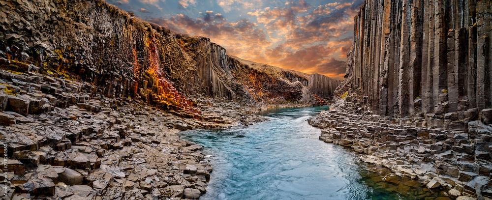 Fototapety, obrazy: Breathtaking view of Studlagil basalt canyon, Iceland, Europe.