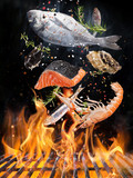 Kettle grill with fire flames, cast iron grate and tasty sea fishes flying in the air. Freeze motion barbecue concept.