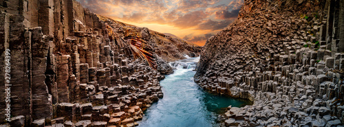 Poster Natuur Breathtaking view of Studlagil basalt canyon, Iceland, Europe.
