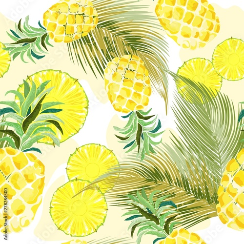 Foto op Plexiglas Draw Pineapple Watercolor Fresh Vector Seamless Pattern Textile Design