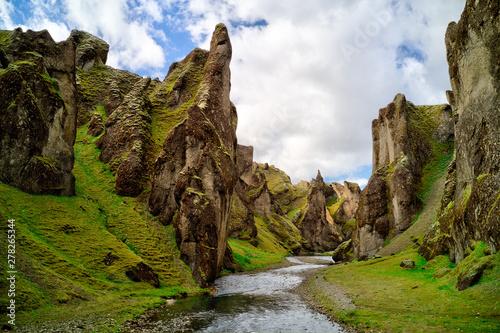 Fototapeta Famous Fjadrargljufur canyon in Iceland