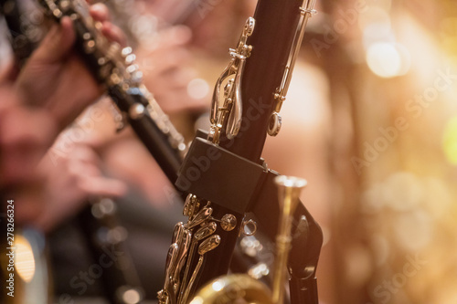 Fotografering clarinet during a classical concert music, close-up.