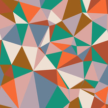Colorful Mesh Network Of Triangles In Comforting Retro Colors. Lattice, Irregular, Grid, Random, Low Poly.  Seamless Repeat Vector Pattern Swatch.  Generative Art.