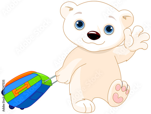 Garden Poster Fairytale World Polar Bear with a Suitcase