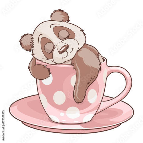 Canvas Prints Fairytale World Panda Sleeping in Teacup