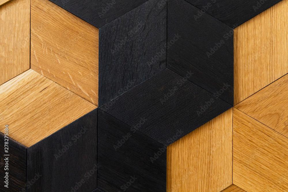 Fototapety, obrazy: mosaic of wood closeup, wall decoration. Modern design, natural wood texture