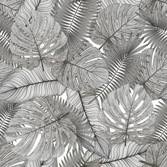 Fototapeta Do biura Seamless pattern with tropical leaf palm . Vector illustration.