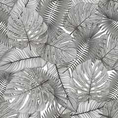 Panel Szklany Podświetlane Do biura Seamless pattern with tropical leaf palm . Vector illustration.