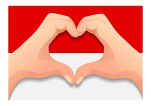Indonesia Flag And Hand Heart Shape