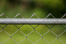 Close Up Of Chain Link Fence With Green Background