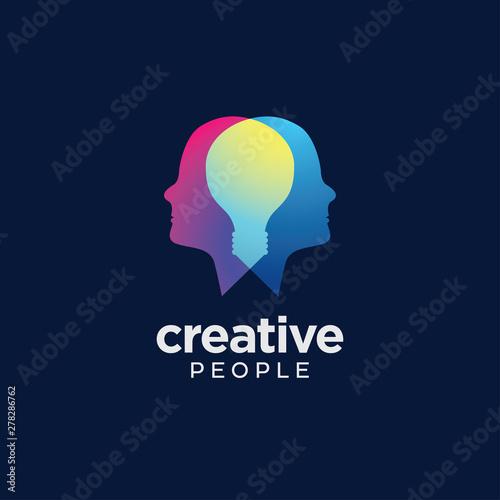 Digital Abstract human head logo for creative Wall mural