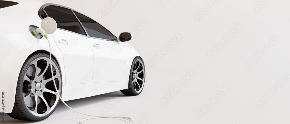 Fototapeta E-mobility, electric car charging battery. 3d rendering