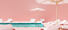 Swimming Pool With Beach Umbrella And Chairs. Pink Summer Vacation Concept. 3d Rendering
